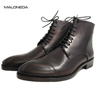 MALONEDA Фирменная Новинка Мужские ботинки из натуральной кожи на шнуровке ручной работы с Goodyear Welted полусапожки Водонепроницаемый