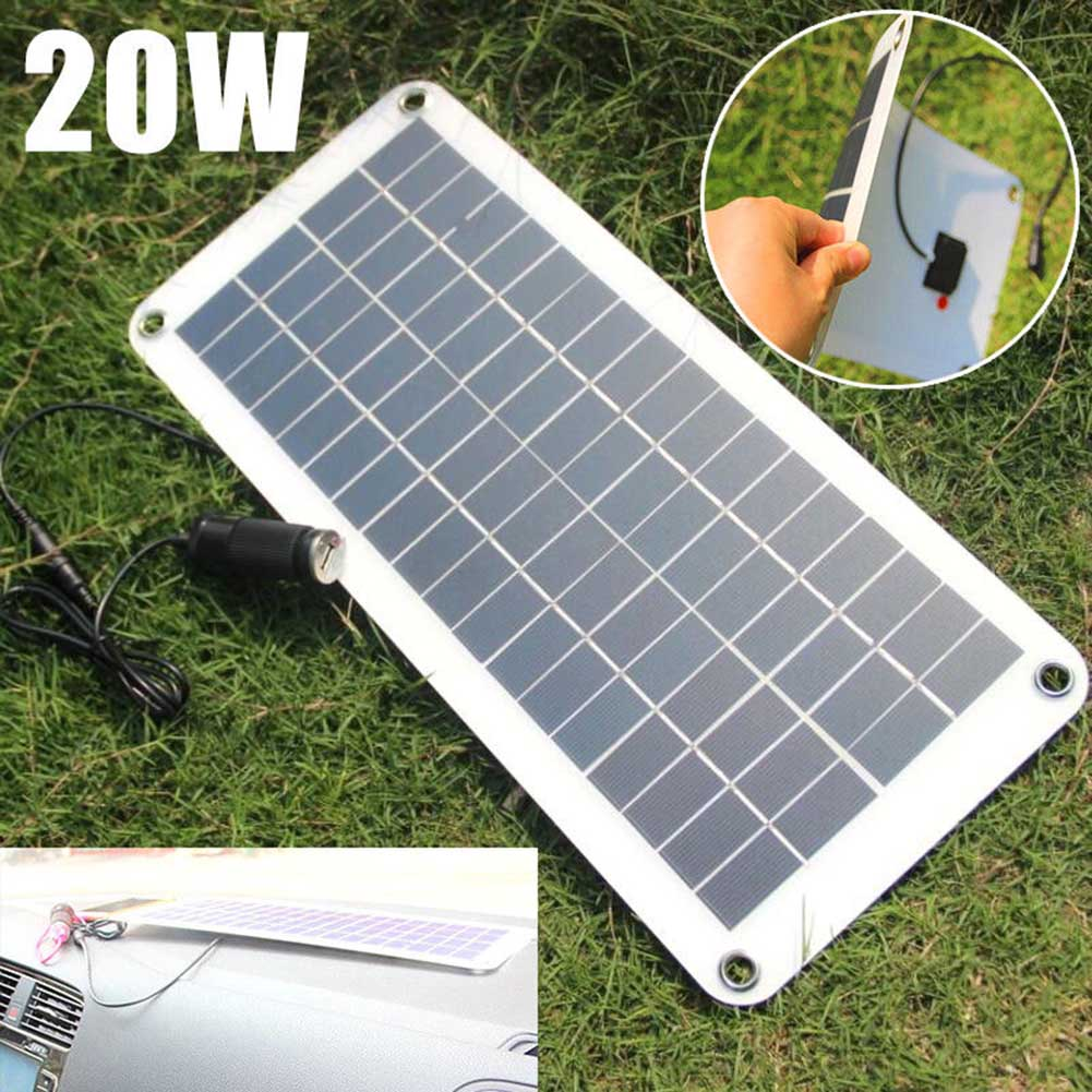 20W Solar Panel 12V to 5V Battery Charger USB for Car Boat Caravan Power Supply ALI88 mvpower 5v 5w solar panel bank solar power panel usb charger usb for mobile smart phone