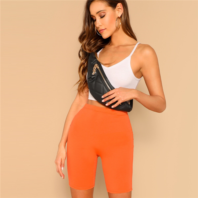 Neon Orange Solid High Waist Legging 1
