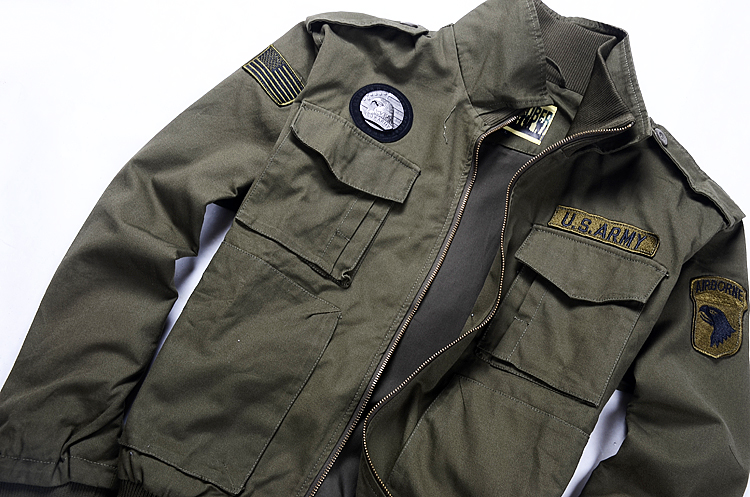 c15f40ddf High Quality Cotton Men's Military Style Jackets Pilot Coat Usa Army Air  Force Bomber Coats Men's casual Warm Jacket