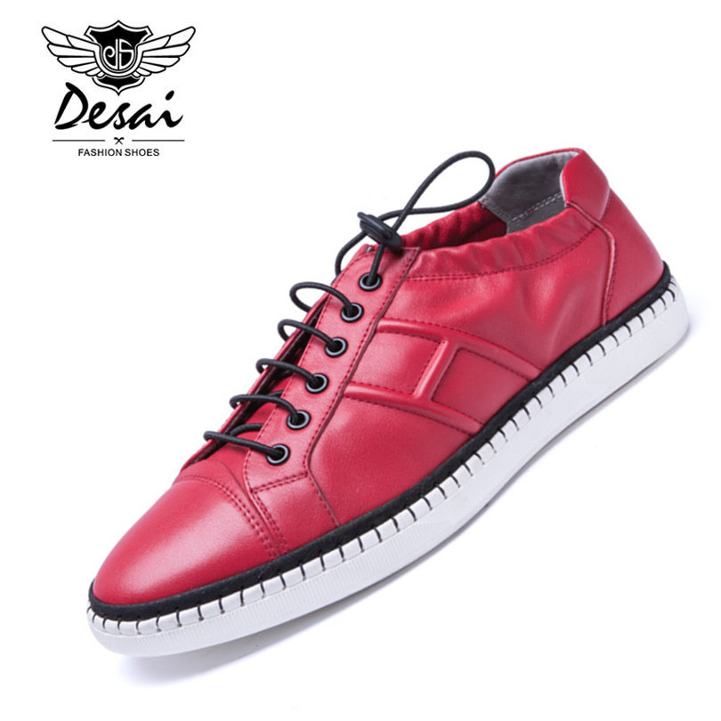 DESAI Brand Genuine Leather Casual Shoes Breathable Red White Black Colors Four Seasons High-End Shoes Men Size 38-43 2017 free shipping new arrival traditional tavas women colors casual shoes breathable max size 36 42 black white superstar