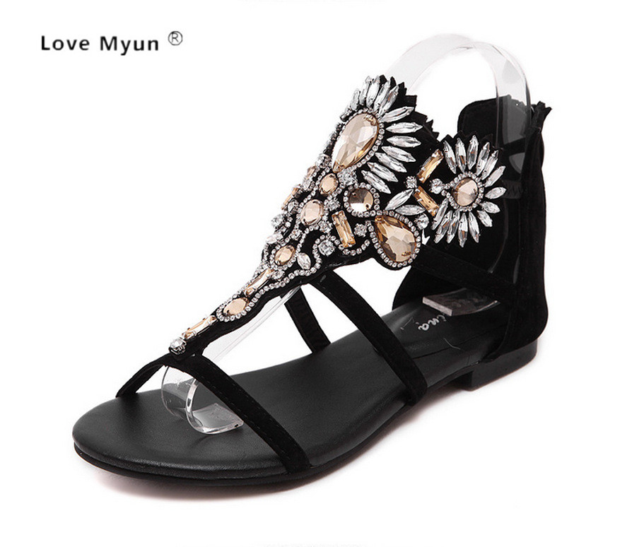 HEE GRAND Crystal Gladiator Sandals Summer Flip Flops Casual Shoes Woman Slip On Flats Rhinestone Women Shoes Size 35-40 508 hee grand summer flip flops gladiator sandals slip on wedges platform shoes woman gold silver casual flats women shoes xwz2907