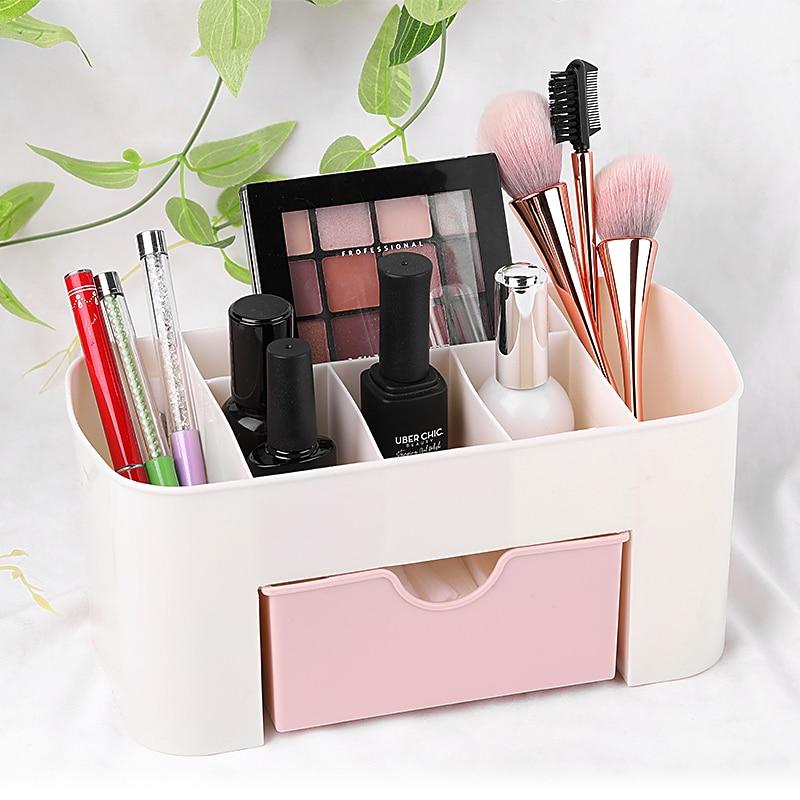 1Pc  3 Color Portable Desktop Storage Box Plastic Scissors Organizer Jewelry Nail Polish Pen Makeup Brushes Kit Container Tool