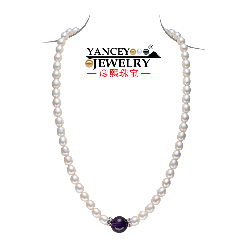 YANCEY Classic Fashion 7-8mm Natural Freshwater Rice shape Pearl Necklace With colored agate Quite Popular fine jewelry necklace