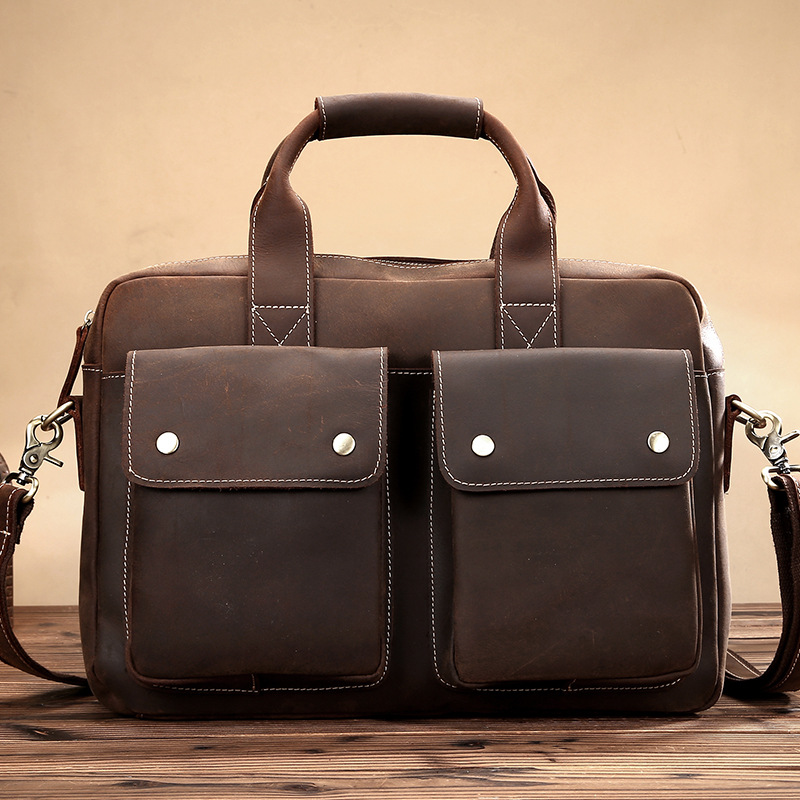 Vintage Genuine Leather Men Shoulder Bag With Two Pocket Front Leather Strap Male Bag Crazy Horse Leather Briefcase LS0202