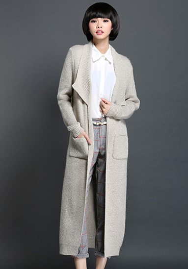 Autumn winter woman casual loose maxi sweater coat knitted coat ...