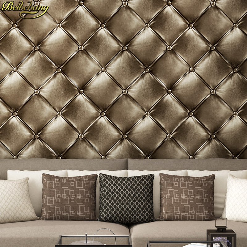 beibehang PVC leather upholstered diamond for walls 3d room wallpaper for living room TV backdrop wall paper papel wall