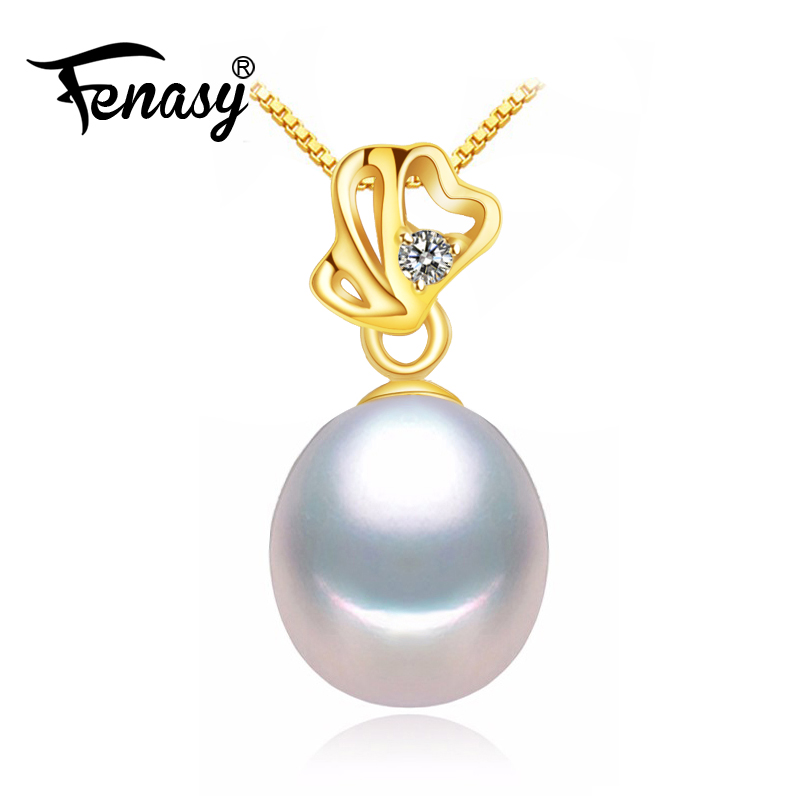 FENASY 18K Yellow Gold pendant pearl Jewelry AU750 gold heart pendant for lovers pearl pendants send s925 silver necklace blue mind act upon mind s925 silver lovers necklace silver pendants page 5 page 8 page 6