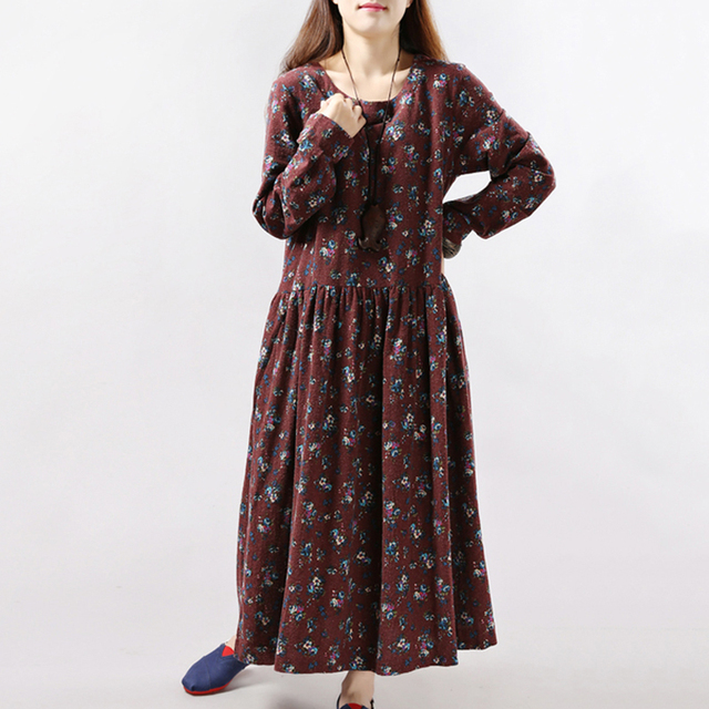 2019 New Women Dresses Autumn Winter Vintage Print Casual Long Sleeve Retro Cotton Maxi Robe Tunic Floral Big Plus Size Dress 4