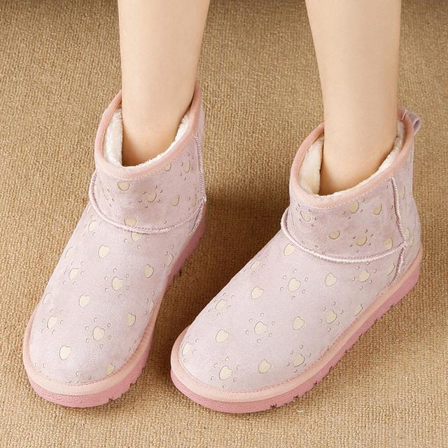 2016 la Nieve del Invierno Botas de Plataforma Plana Botines Bowtie Mujeres Arranque Rebaño Interior Caliente Zapatos Planos Ocasionales Mujer