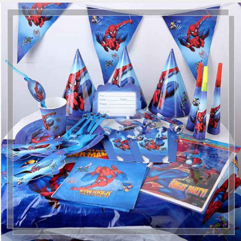 Spiderman Birthday Party Decor กระดาษถ้วยผ้าเช็ดปากแบนเนอร์/ธง Candy กล่องฟางชุด Baby Shower Party อุปกรณ์