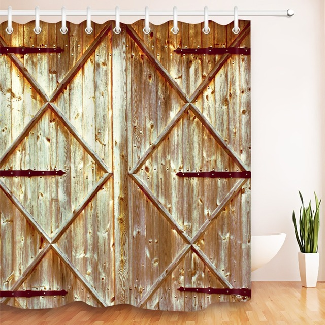 LB 72Shower Curtain Vintage Wood Rustic Country Barn Door Pattern Artistic Bathroom Curtains