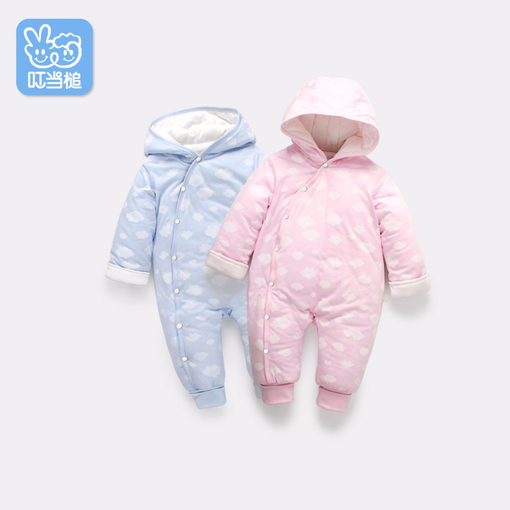 Dinstry Autumn& Winter Newborn Baby Hooded  Romper with cute Printing ,Baby Boys & Girls Jumpsuit puseky 2017 infant romper baby boys girls jumpsuit newborn bebe clothing hooded toddler baby clothes cute panda romper costumes