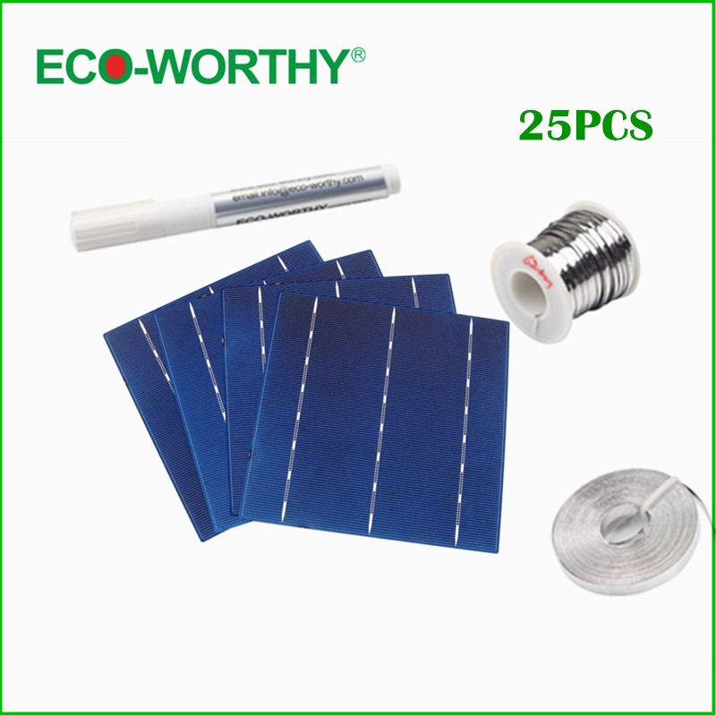 ECO-WORTHY 25pcs 6x6 Poly Solar Cells Tabbing Wire &Flux Pen &Bus Wire for DIY Solar Panels 156mm Polycrystalline Solar 40 pcs mono 5x5 solar cells diy kit for solar panel regulator bus tabbing wire