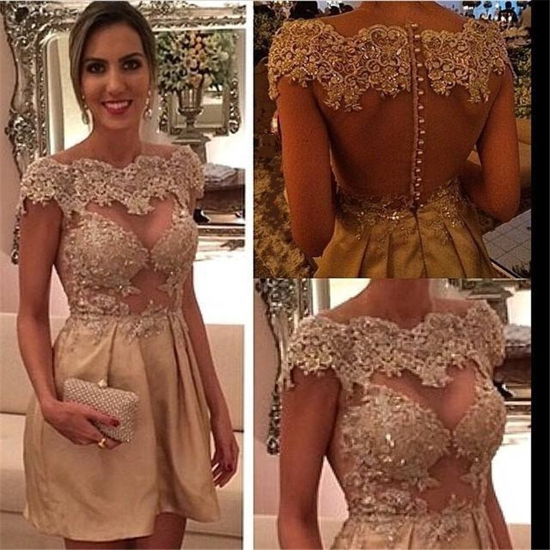 Aliexpress.com : Buy Actual Image 2017 Sheer Back Lace Cocktail ...