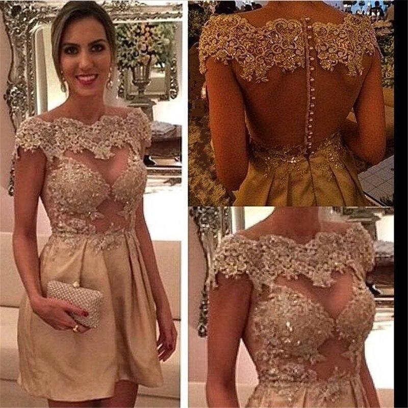 Imagen Actual 2017 Sheer Volver Vestidos de Cóctel de Encaje Champagne Tope Sleevs Corto Fiesta Vestidos de Noche Vestido De Festa