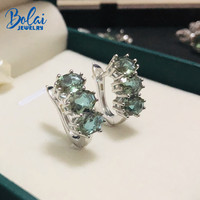 Bolai 3 stone nano diaspore stud earrings 925 sterling silver sultanit stone color change fine jewelry for women wedding gift