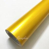 1,52*20 м Высокое качество наклейки для всего тела Желтая атласная металлический матовый хромированная виниловая упаковка