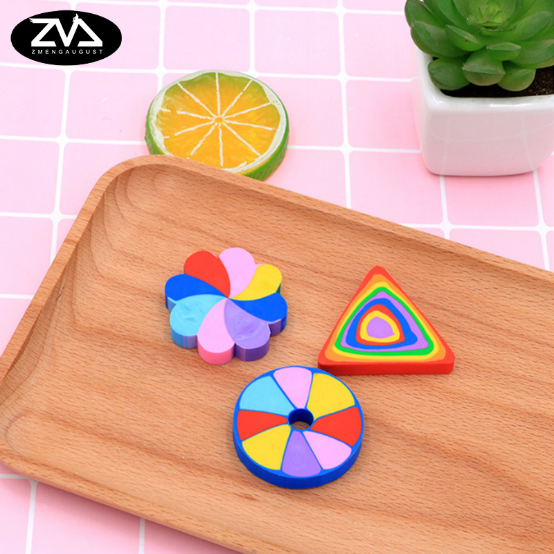 2pcs/lot Creative Cartoon Colorful Students Eraser Children Learning Stationery Kawaii School Supplies Papelaria Gift For Kids