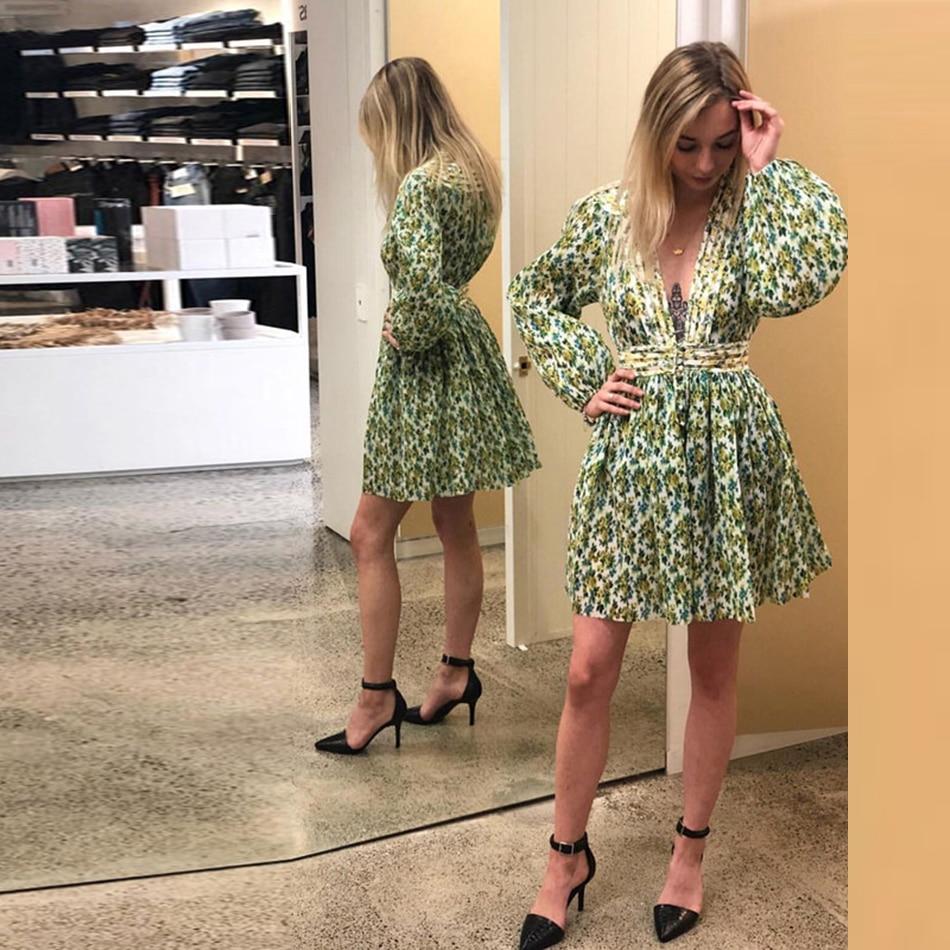 V Scollo Delle Linea Autunno Stile Profondo 2018 A Donne Verde Cachi Floreale Una Lunghe Di Maniche Vestito Del Multicolore Stampa Vestiti nZqTwz