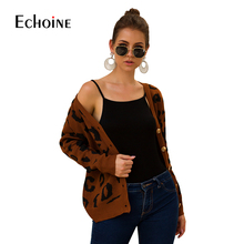 Autumn Sexy Leopard Cardigan Women Clothing 2019 New Winter Long Sleeves White Sweater V-Neck Casual Knitted Warm Sweaters Femme white v neck cold shoulder long sleeves sweaters