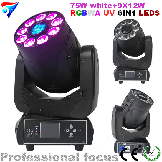 Free Shipping 75W White+9X12W RGBWA UV 6IN1 LEDS Wash Light And Spot Moving Head Light