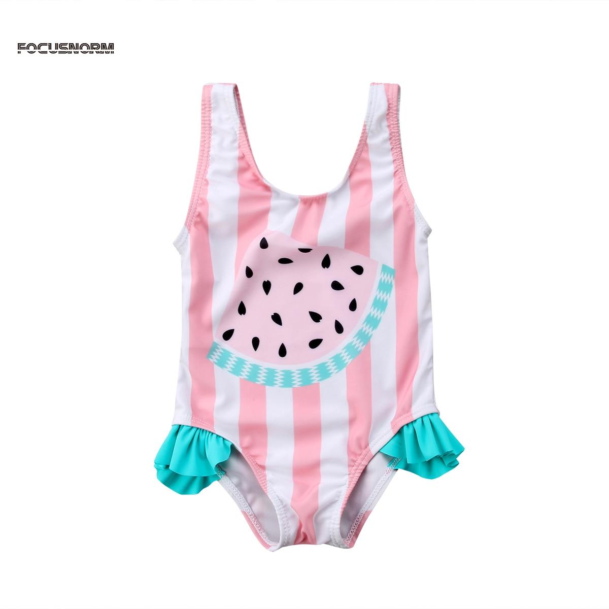 Toddler Newborn Baby Girl Watermelon Striped Printed Swimsuit Swimwear Swimming Bikini Baby Clothing