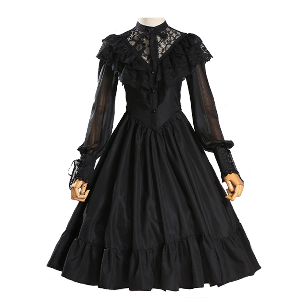 Robe Lolita manches longues robe en dentelle et mousseline de soie robe de mariée Lolita à volants - 2