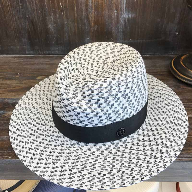 0e8e0f2aae4beb QPALCR Summer Cellulose Straw Hat Women's Beach Sun Hats Summer Black White  Jazz Hat Lady Irregular Top UV Protection Visor Caps