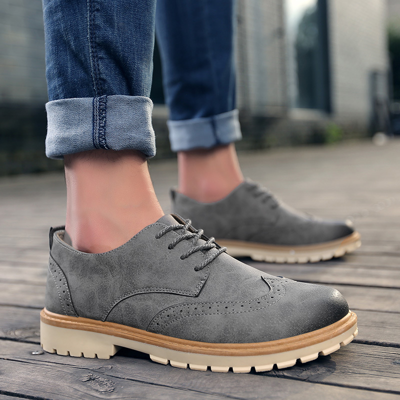 Fashion Pu Leather New EVA Brogue Shoes Man Platform Oxfords British Style Creepers Cut-Outs Flat Casual Men Shoes 3 Colors