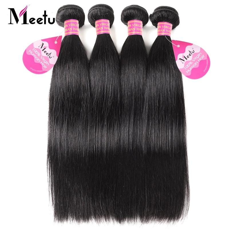 Meetu Peruvian Straight Hair Bundles 100% Real Human Hair Weave 4 - Beauty Supply - Photo 1