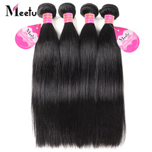 Meetu Peruvian Straight Hair Bundles 100% Real Human Hair Weave 4 Bundles Deal 8-28 tommer Non Remy Natural Color Hair Extensions