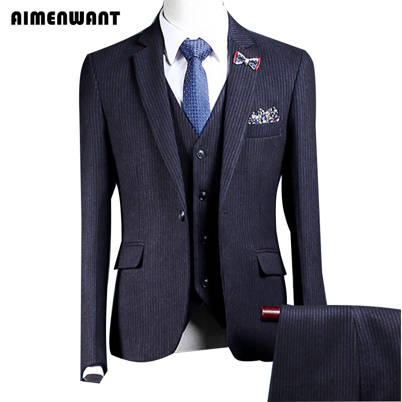 Super Promo Aimenwant New Mens Suits Wedding Prom 3 Piece Blazer Trousers Waistcoat Single Breasted Professional Suit Uk Dinner Suit Gift February 2021
