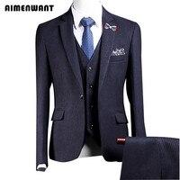 Aimenwant новые мужские Костюмы Свадебные из 3 предметов (пиджак + Мотобрюки + жилет) однобортный профессиональный костюм Великобритании ужин ко