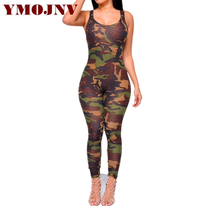 YMOJNV New Design Women Jumpsuits Sexy Backless Sleeveless Jumpsuit 2018 Bandage Bodysuits Elegant Camouflage Playsuit Overalls