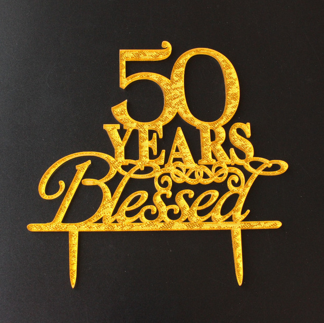 50 Years Blessed Cake Topper Happy Birthday Glitter Gold For Party Accessories Custom Age Stand