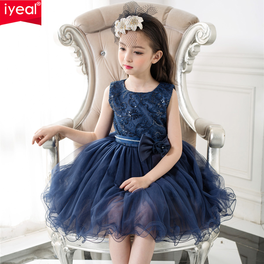 IYEAL Brand Girls Dresses for Party and Wedding Navy Blue Lace Flower Girl Princess Costume With Sequins Kids Dress