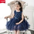 Marca Vestidos de Meninas para a Festa de Casamento e 2017 Azul Marinho Flor do laço Menina Princesa Traje Com Lantejoulas Crianças Vestido para meninas