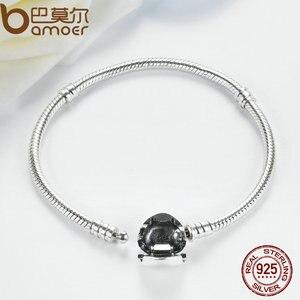 Image 4 - BAMOER autentyczne 100% 925 srebrny łańcuszek żmijka łańcuch chwile bransoletka z serduszkiem i bransoletka luksusowa biżuteria srebrna PAS917