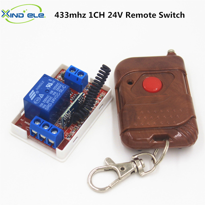 433Mhz Universal Remote Control Light Switch DC 24V 10A 1CH relay Receiver Module RF 433 Mhz Remote Controls For Garage Door dc 24v photoresistor module relay light detection sensor light control switch s018y high quality