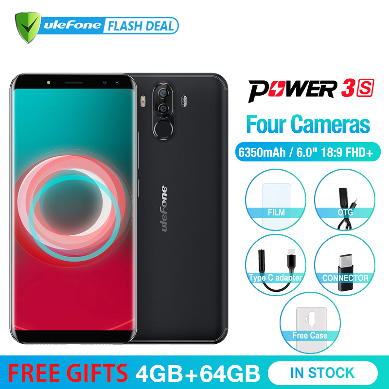 Ulefone Puissance 3 s 6.0 18:9 FHD + Mobile Téléphone MTK6763 Octa base Android 7.1 4 gb + 64 gb 16MP 4 Caméra 6350 mah Visage ID 4g Smartphone