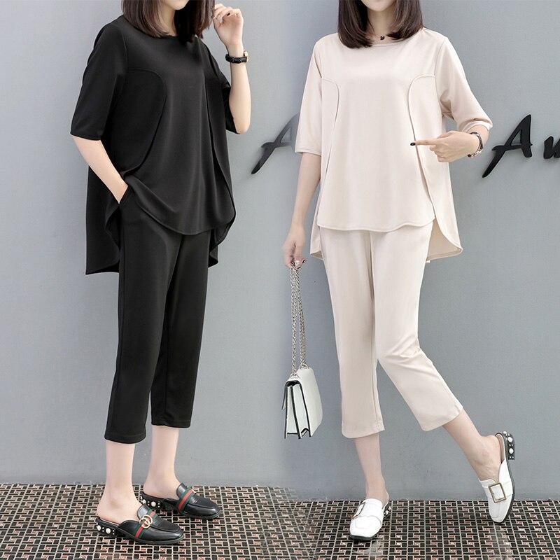 2018 été de grande taille dames nouveau design femmes haut ample pantalon grande taille solide vêtements ensemble slacks deux pièces tenue M-4XL