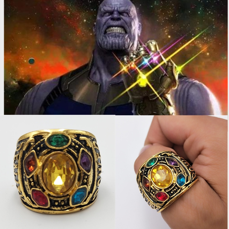 Marvel Avengers Infinity War Thanos Ring Men Size 8-12 Thanos Power Cosplay Alloy Ring Jewelry Crystal Ring Fans' Gift