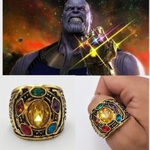 Marvel nieskończoność wojna Thanos pierścień mężczyźni rozmiar 8-12 Thanos moc Cosplay pierścionek ze stopu biżuteria kryształowy pierścień fans #8222 prezent tanie tanio Lasek i Laski Kostiumy Metal Avengers Unisex