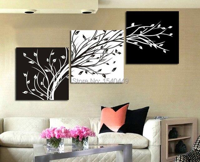 Blanco y negro árboles afortunados, 3 paneles pintado a mano ...