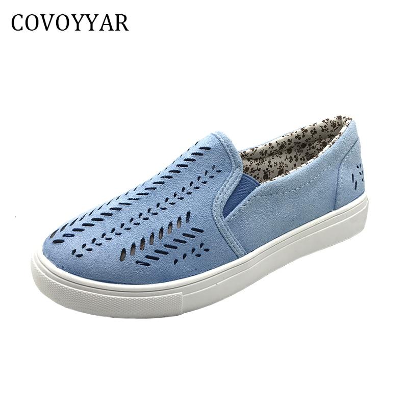 Covoyyar 2018 Демисезонный вырезами женская повседневная обувь леди Туфли без каблуков синие флоковые модные кроссовки Лоферы для женщин большие размеры 35–42 wfs317