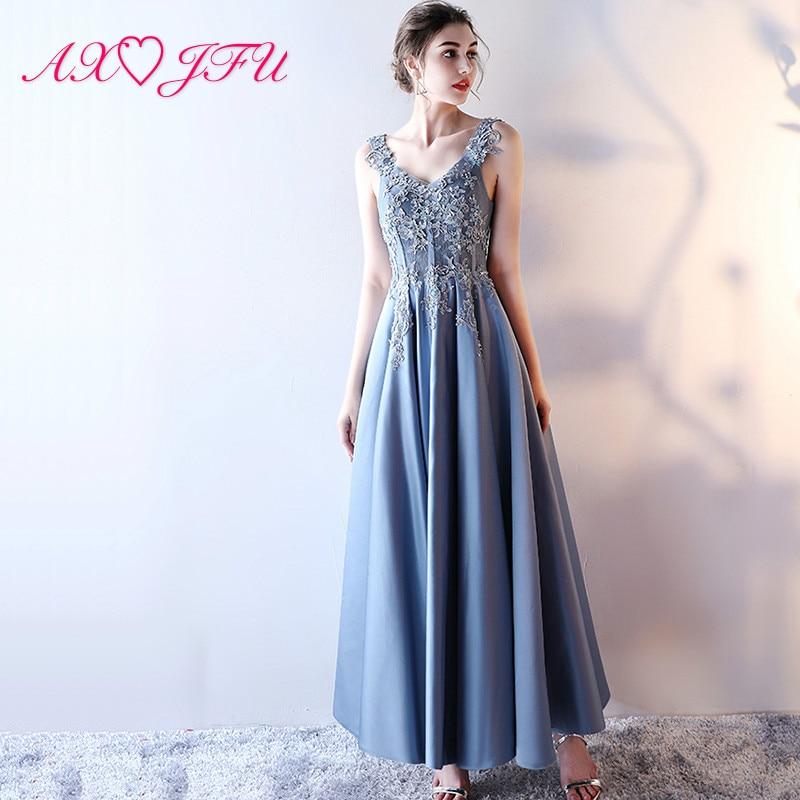 AXJFU blue lace princess   evening     dress   blue flower party lace long   evening     dress   sexy blue lace   evening     dress