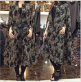 2015 winter New winter big yards loose version Fan art camouflage fatigues with belt woolen coat trench