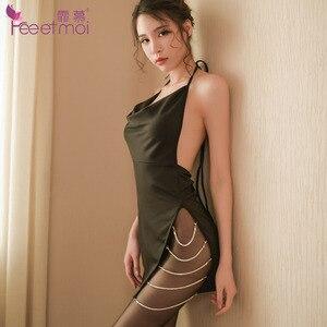 Image 1 - Сексуальное женское белье с бриллиантовой цепочкой и разрезом по бокам, платье с открытой спиной, эротическое женское нижнее белье