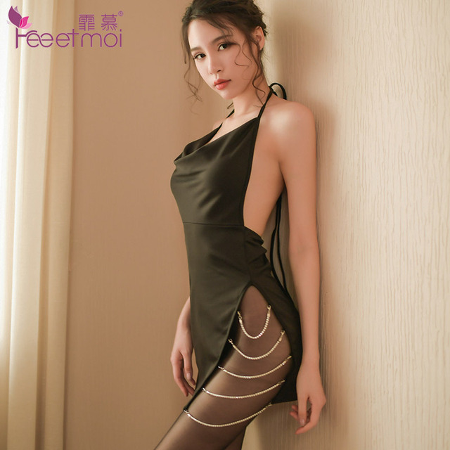 Сексуальное женское белье с бриллиантовой цепочкой и разрезом по бокам, платье с открытой спиной, эротическое женское нижнее белье